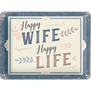 Buvu Metalna tabla: Happy Wife Happy Life - 15x20 cm