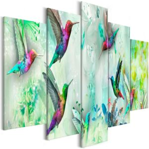 Slika - Colourful Hummingbirds (5 Parts) Wide Green