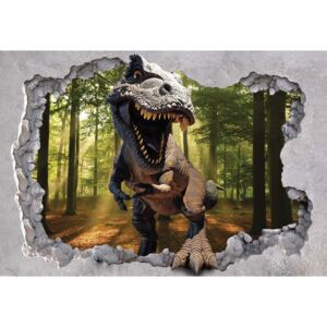 Dinosaur 3D Jumping Out Of Hole In Wall Fototapeta, (104 x 70.5 cm)