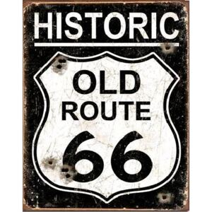 Metalni znak OLD ROUTE 66 - Weathered, (31,5 x 40 cm)