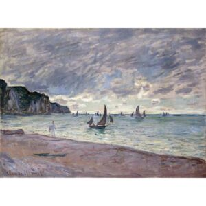 Monet, Claude - Fishing Boats in front of the Beach and Cliffs of Pourville, 1882 Reprodukcija umjetnosti