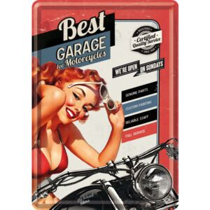 Buvu Metalna razglednica - Best Garage for Motorcycles (crvena)