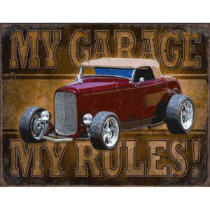 Metalna tabla - My Garage, My Rules (Red Car)