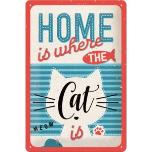 Buvu Metalna tabla: Home is where the Cat is - 30x20 cm