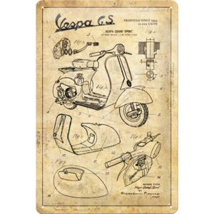 Buvu Metalna tabla: Vespa GS (Parts Sketches) - 30x20 cm