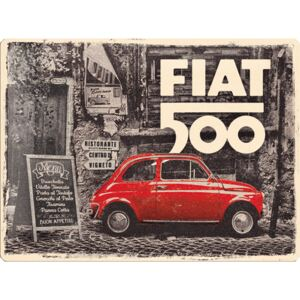 Buvu Metalna tabla: Fiat 500 (Retro) - 40x30 cm