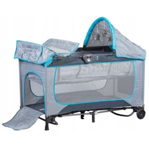 EcoToys travel cot and cradle plava siva