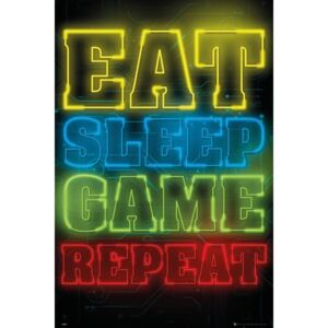 Gaming - Eat Sleep Game Repeat Poster, (61 x 91,5 cm)