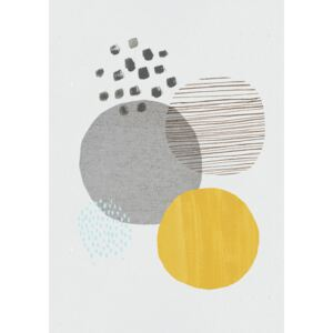 Abstract mustard and grey, (96 x 128 cm)