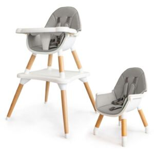 Blagovaonska stolica SKANDI 2u1 - siva High chair grey