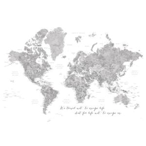 Ilustracija We travel not to escape life, gray world map with cities, Blursbyai