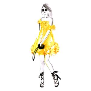 Ilustracija Fashion illustration yellow summer dress, Blursbyai