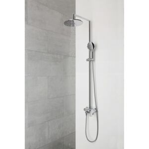 Shower System with Chrome Round Shower Head ? 25 Caresse with Bath Single Handle Mixer Summer Spout