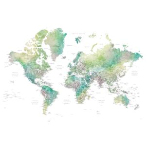 Ilustracija Watercolor world map with cities in muted green, Oriole, Blursbyai