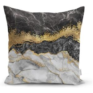 Jastučnica Minimalist Cushion Covers BW Marble With Golden Lines, 45 x 45 cm